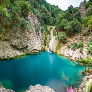 Natural-waterfall-and-lake-in-Polilimnio-area-in-Greece